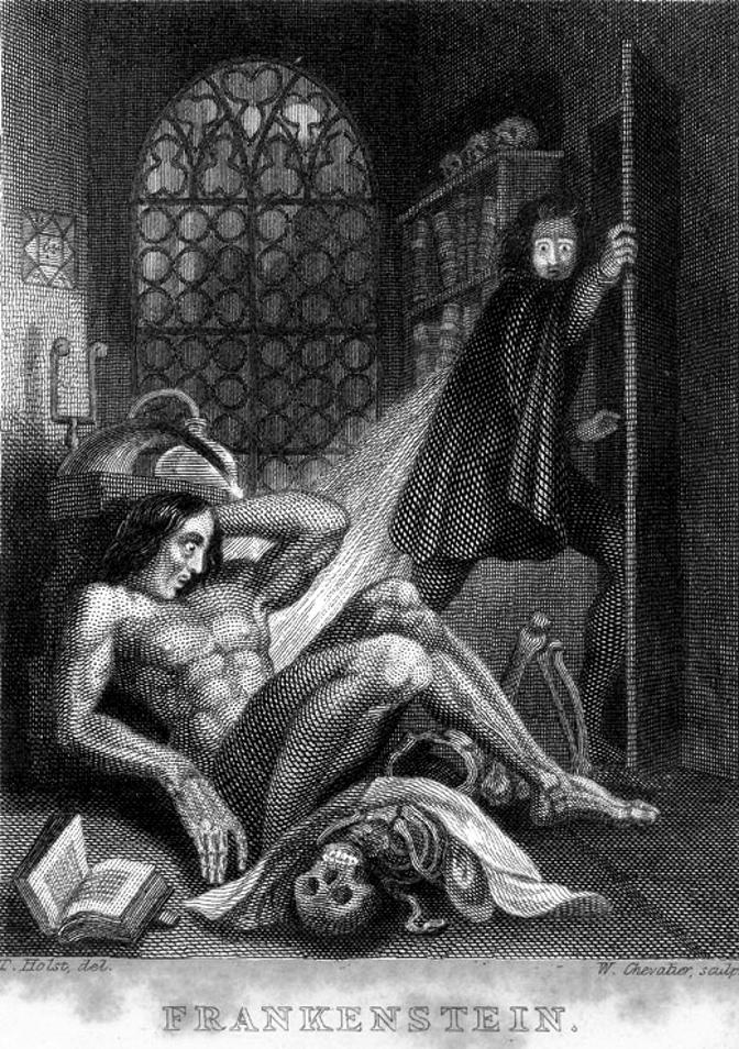 Ilustracja do wydania Frankensteinaz1831 roku Ilustracja do wydania Frankensteinaz1831 roku Źródło: Theodore Von Holst, 1831, staloryt, domena publiczna.
