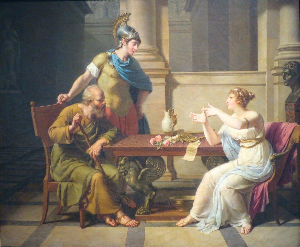 Debata Sokratesa iAspazji Źródło: Nicolas-André Monsiau, Debata Sokratesa iAspazji, ok. 1800, Musée Pouchkkine, domena publiczna.