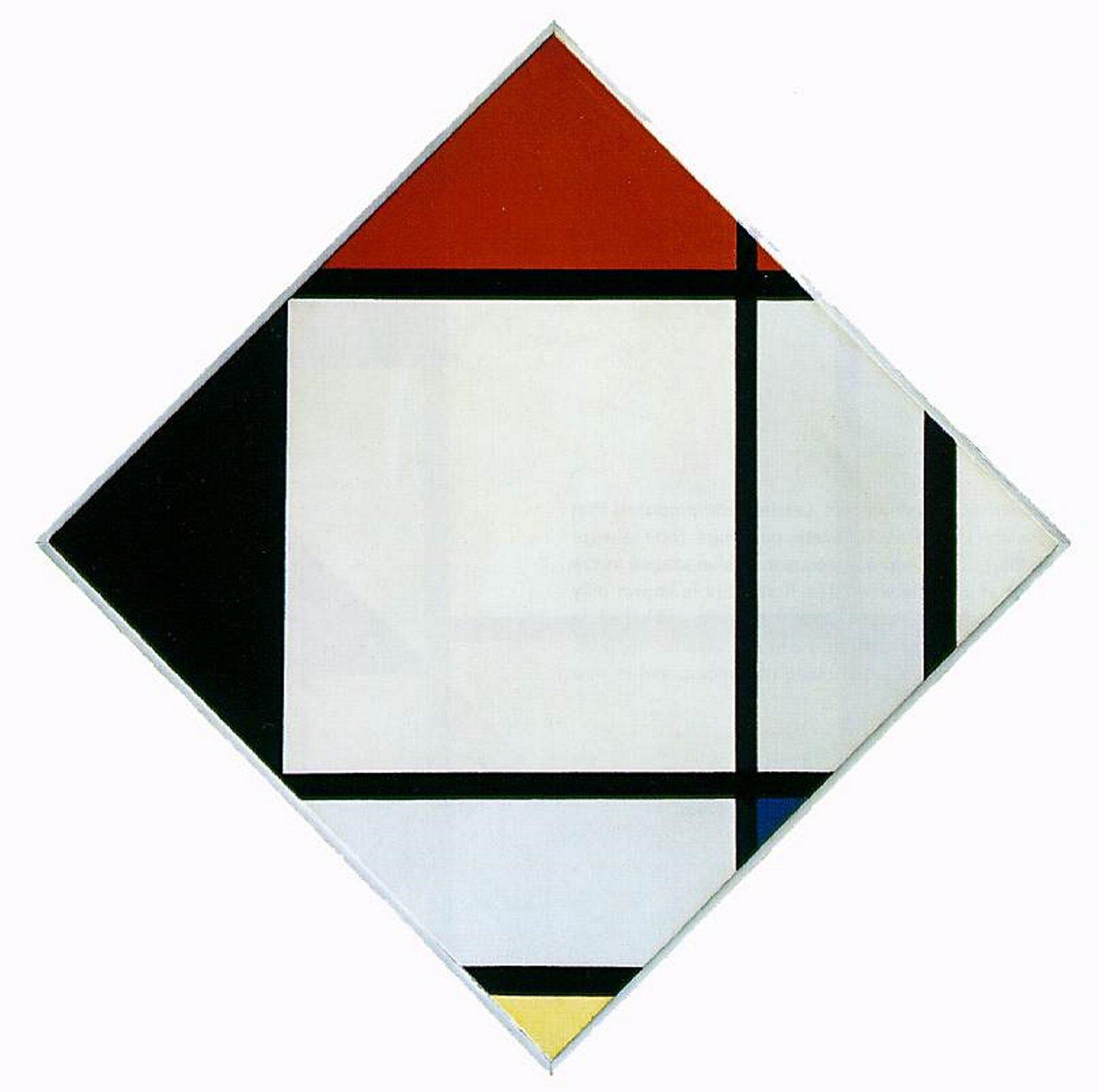 """Ilustracja przedstawia obraz Pieta Mondriana pt. """"Rombowa kompozycja zczerwonym, czarnym, niebieskim iżółtym"""". Ukazuje on czarne pionowe ipoziome linie tworzące romb. Wewnątrz znajdują się kolorowe trójkąty."""