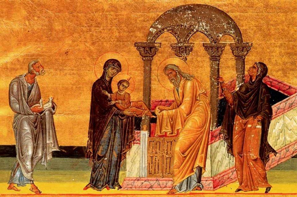 Ofiarowania Jezusa wświątyni zbizantyńskiego Menologionu Bazylego IŹródło: Ofiarowania Jezusa wświątyni zbizantyńskiego Menologionu Bazylego I, licencja: CC 0.