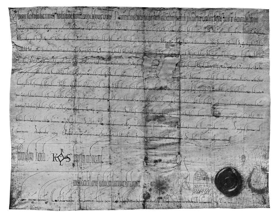 Dokument Karola Grubego wystawiony w882 roku, już po koronacji cesarskiej
