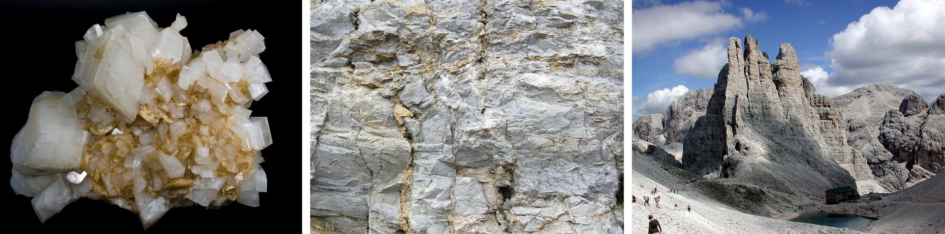 Druga ilustracja wgalerii. Składa się ztrzech sąsiadujących ze sobą zdjęć. Na zdjęciu po lewej stronie minerał składający się zwiększych białych imniejszych żółtawych kryształów okształtach prostopadłościennych isześciennych na czarnym tle. Na zdjęciu środkowym zbliżenie jasnej skały zwidocznymi pęknięciami iżółtymi żyłkami przecinającymi jaśniejsze iwiększe powierzchnie. Zdjęcie zprawej strony przedstawia skalisty, na pozór martwy krajobraz górski na tle pogodnego nieba. Skały są jasnoszare oraz beżowe iwyglądają trochę tak, jakby były przysypane śniegiem. Wdolinie, pomiędzy dwiema górami znajduje się jezioro.