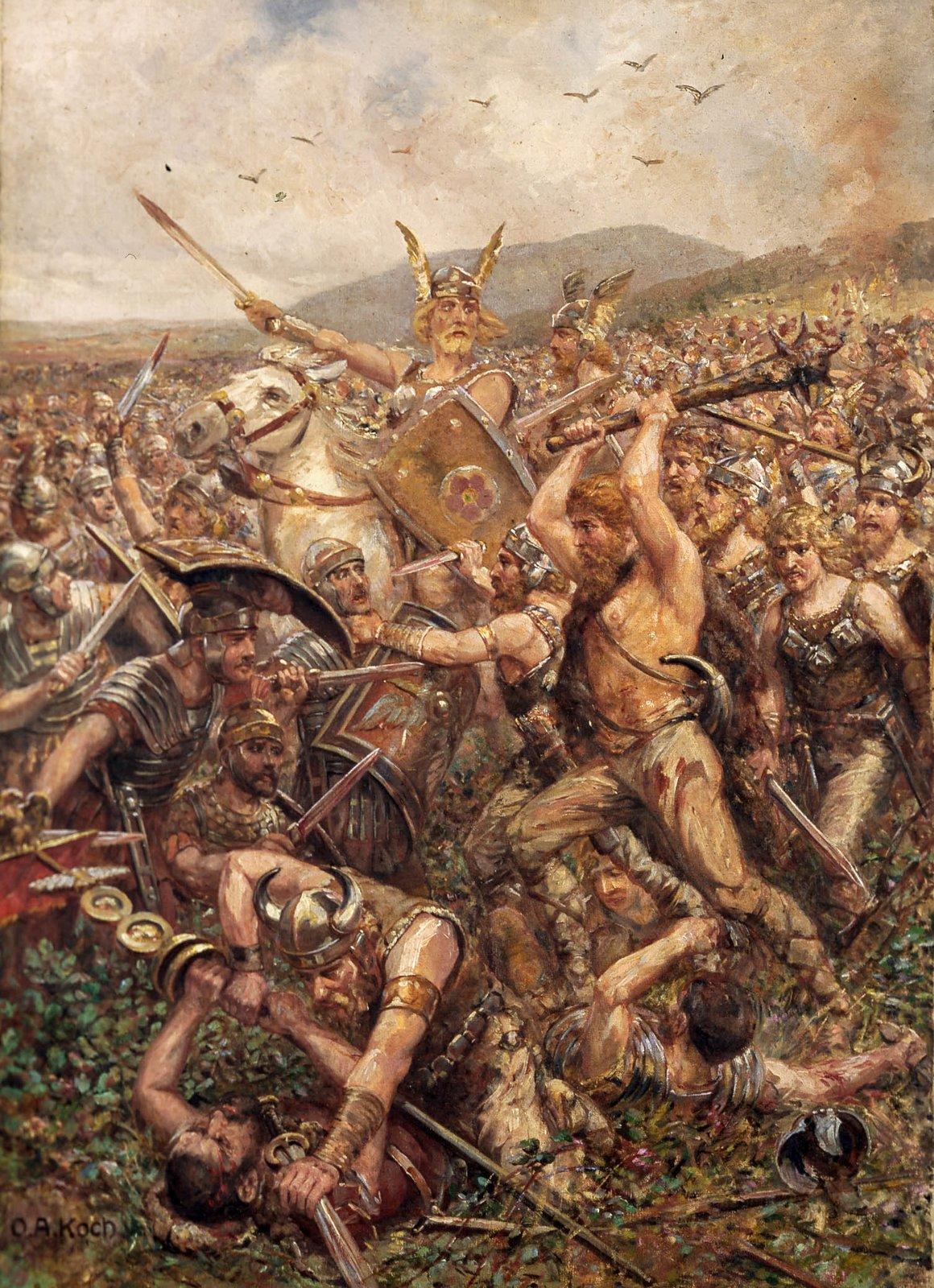 Bitwa wLesie Teutoburskim Rzymianie stracili wbitwie trzy legiony. Nigdy ich nie odtworzono. Obraz zpoczątku XX wieku, przedstawiający wspaniałe zwycięstwo Germanów Źródło: Otto Albert Koch, Bitwa wLesie Teutoburskim, 1909, domena publiczna.