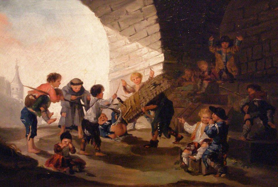 Zabawy dziecięce Dzieci bawiące się wkorridę Źródło: Francisco Goya, Zabawy dziecięce, 1782–1785, domena publiczna.