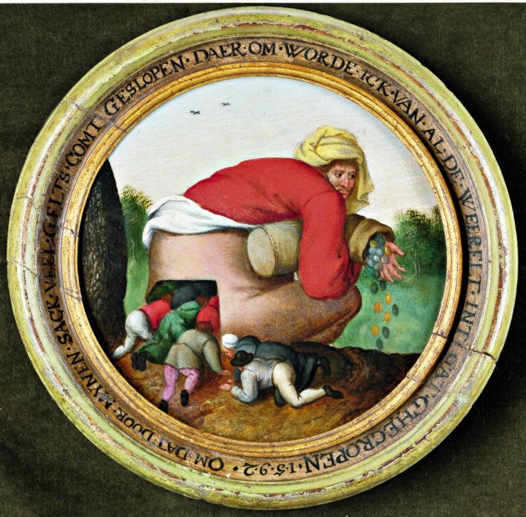 Pochlebcy Źródło: Pieter Bruegel Młodszy, Pochlebcy, około 1592, kolekcja prywatna, domena publiczna.