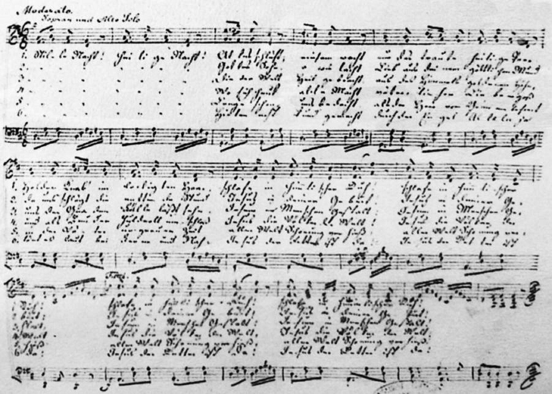 Ilustracja przedstawia rękopis kolędy Grubera, prawdopodobnie napisany ok. 1860 roku.