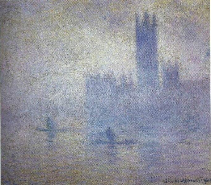 Parlament. Efekt mgły Źródło: Claude Monet, Parlament. Efekt mgły, 1904, olej na płótnie, Museum of Fine Arts, St. Petersburg, USA, domena publiczna.