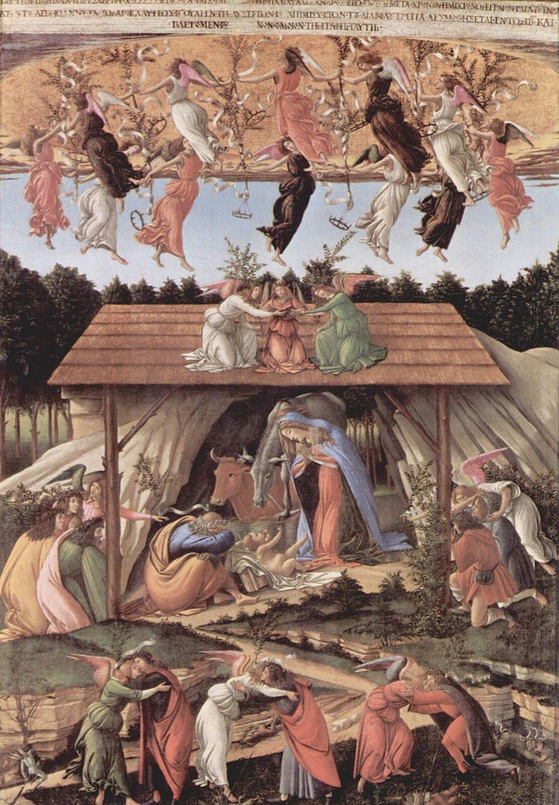 """Ilustracja przedstawia dzieło wykonane przez Sandro Botticelli pt. """"Mistyczne Boże Narodzenie"""". Artysta namalował dwanaście koron, które wraz zgałązkami oliwnymi trzymają tańczące anioły. Wcentralnej części malowidła widzimy tradycyjną scenę narodzin Jezusa. Maria klęczy przy Dzieciątku wpozie adoracji, Józef tradycyjnie przysypia, wół iosioł spoglądają na scenę. Zjednej strony klęczący pastuszkowie, zdrugiej mędrcy. Złotowłosa Maria ubrana wczerwoną suknię ipłaszcz wkolorze ultramaryny łagodnie spływa po niej, aż do ziemi. Dzieciątko leży nagie na posłaniu. Jest radosne, wymachuje nóżkami iwyciąga prawą dłoń do matki. Wdolnej części malowidła Botticelli przedstawił trzy pary aniołów iludzi wobjęciach. Każdy zludzi trzyma wdłoniach gałązkę oliwną zszarfą, na której widnieją słowa zaczerpnięte zEwangelii według św. Łukasza """"Pokój na ziemi ludziom dobrej woli""""."""