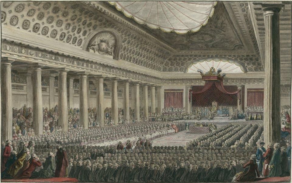 Otworzenie posiedzenia stanów generalnych Francji wdniu 5 maja 1789 r. wpałacu wersalskim.Zwołaniestanów generalnych zapoczątkowało rewolucję francuską. Było to pierwsze zwołanie przedstawicielstwa stanowego we Francji od r. 1613. Otworzenie posiedzenia stanów generalnych Francji wdniu 5 maja 1789 r. wpałacu wersalskim.Zwołaniestanów generalnych zapoczątkowało rewolucję francuską. Było to pierwsze zwołanie przedstawicielstwa stanowego we Francji od r. 1613. Źródło: Isidore Stanislaus Helman, rycina współczesna, Bibliothèque nationale de France, domena publiczna.