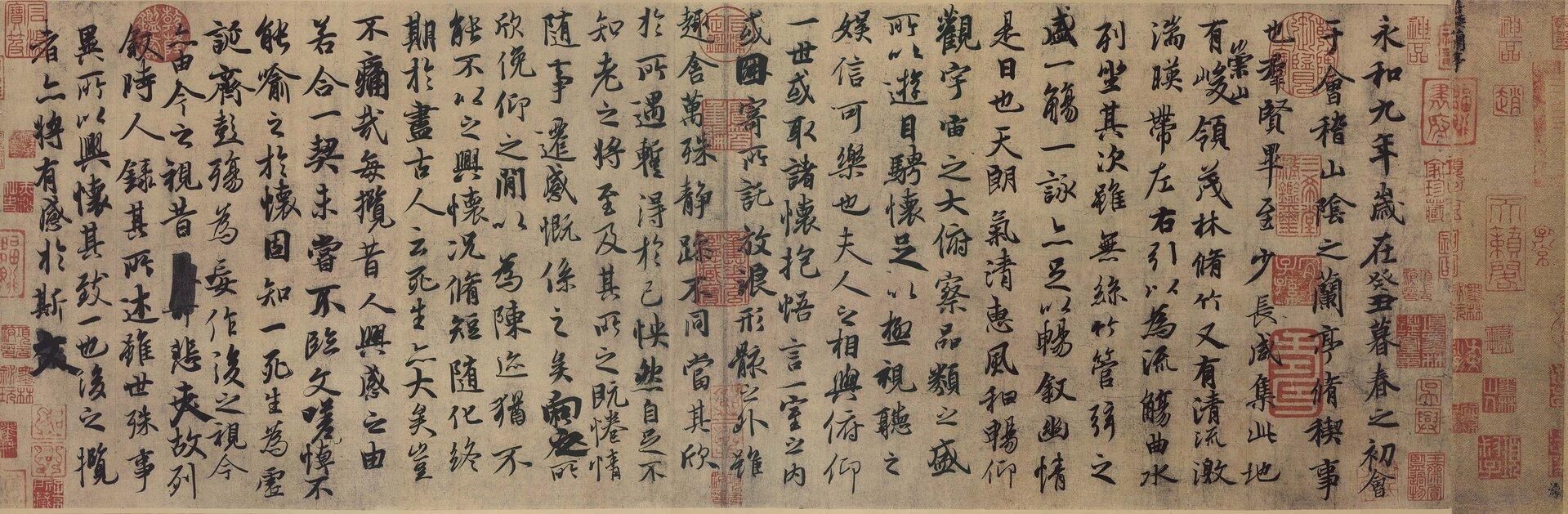 Pismo chińskie. Kopia Rękopisu zAltany Orchidei Wanga Xizhi. Pismo chińskie. Kopia Rękopisu zAltany Orchidei Wanga Xizhi. Źródło: domena publiczna.