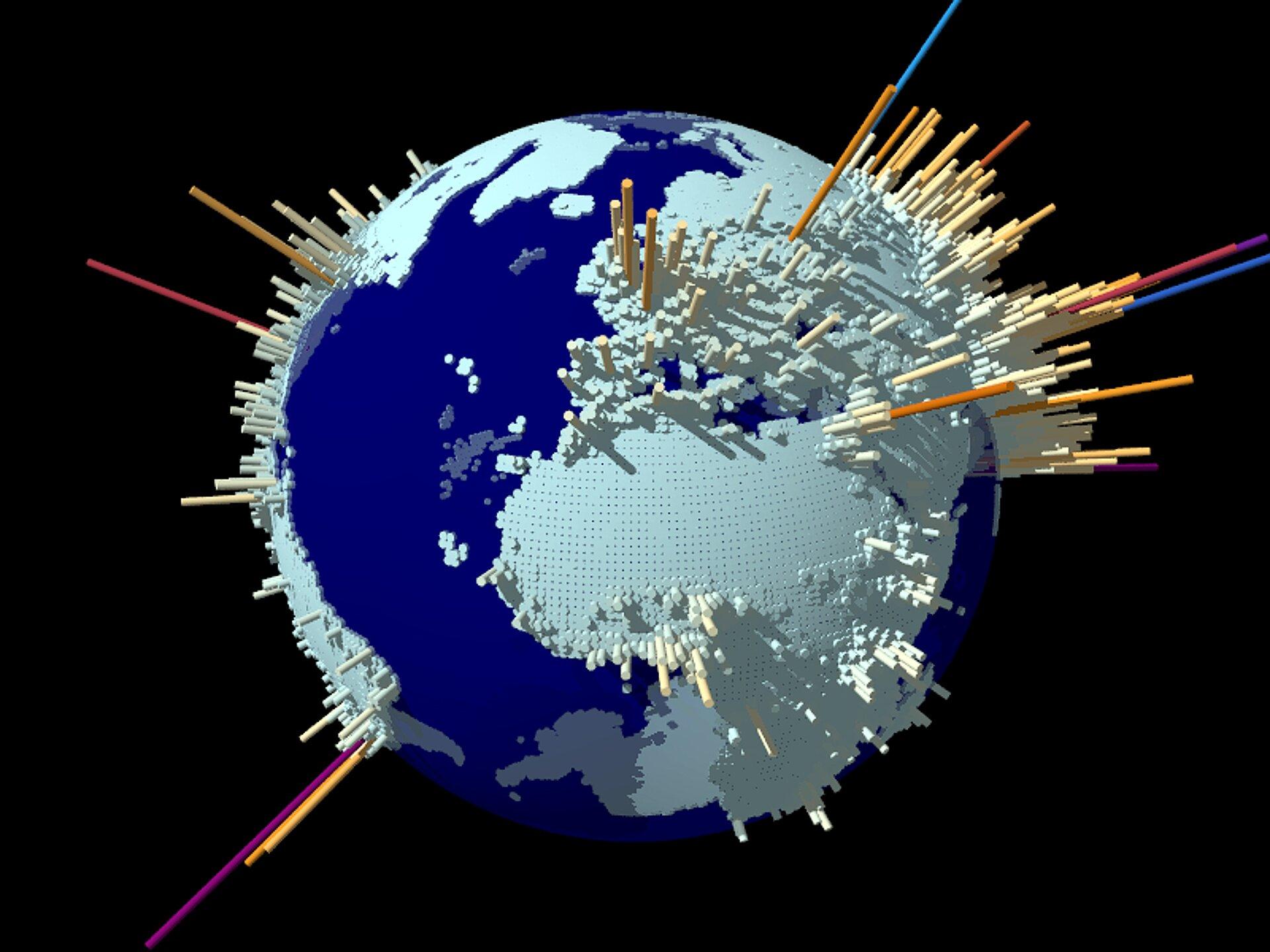 Gęstość zaludnienia na świecie przedstawiona wpostaci diagramu 3D. Kula ziemska. Powierzchnię kontynentów pokrywają słupki. Wmiejscach, gdzie gęstość zaludnienia jest duża słupki są wysokie.