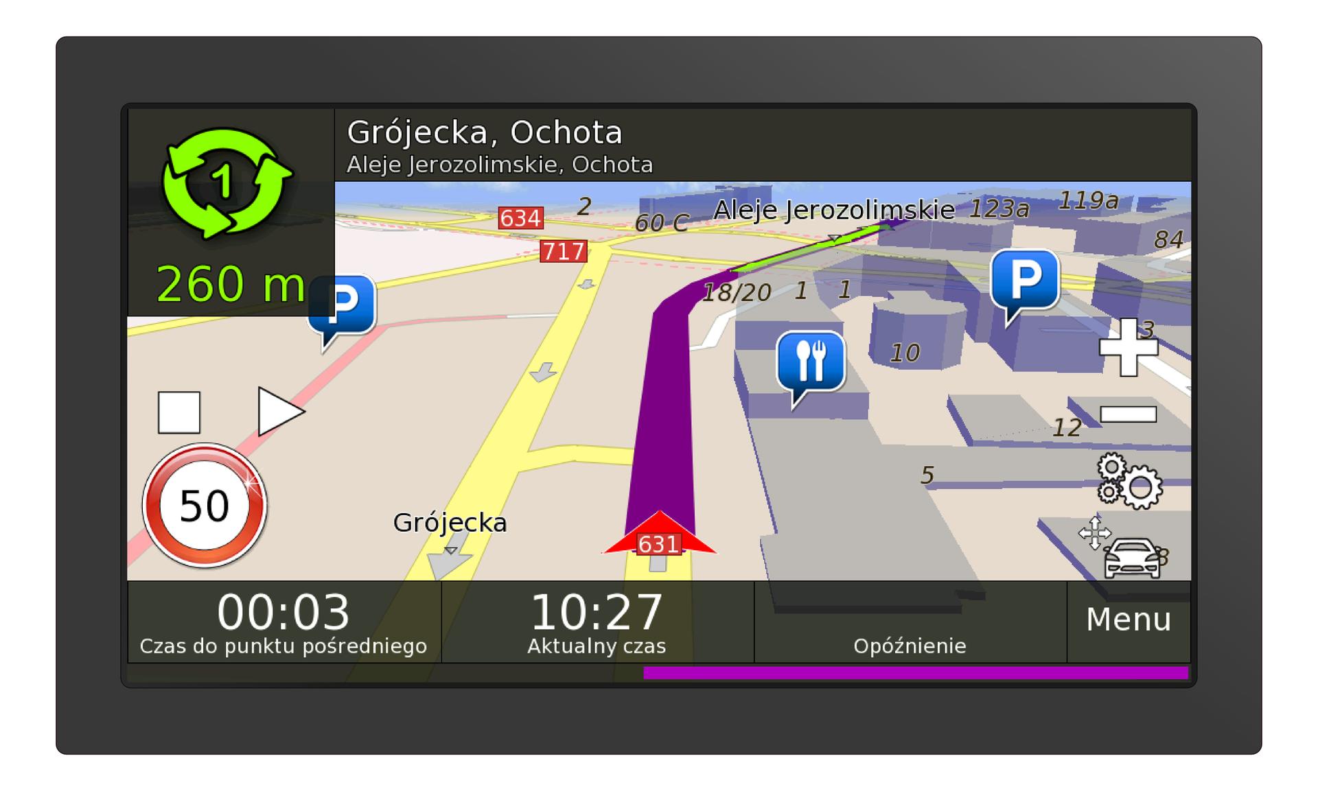 Ilustracja przedstawia mapę GPS. Kolorowa mapa znajduje się na wyświetlaczu. Wyświetlacz ma kształt prostokąta owymiarach dziesięć centymetrów na pięć centymetrów. Na górze wyświetlacza znajduje się aktualna nazwa ulicy oraz dzielnica Warszawy. Informacja to: Grójecka, Ochota, Aleje Jerozolimskie, Ochota. Wdolnej części wyświetlacza znajdują się informacje podające czas przejazdu do punktu pośredniego. Wyświetla się również aktualny czas. Wprawym dolnym rogu napis Menu. Na wyświetlaczu widoczne są pasy odnoszące się do ulicy Grójeckiej. Ulica przedstawiona jest pionowo. Równolegle drugi pas jezdni wprzeciwnym kierunku. Wzdłuż ulicy wyświetlają się szare strzałki wskazujące grotem kierunek jazdy. Prawa strona mapy przedstawia część miasta. Budynki, restauracje iparking są przedstawione jako niebieskie bryły. Po lewej stronie wyświetlacza znak ostrzegawczy. Okrągły znak zczerwoną ramką informuje oograniczeniu prędkości do pięćdziesięciu kilometrów na godzinę.