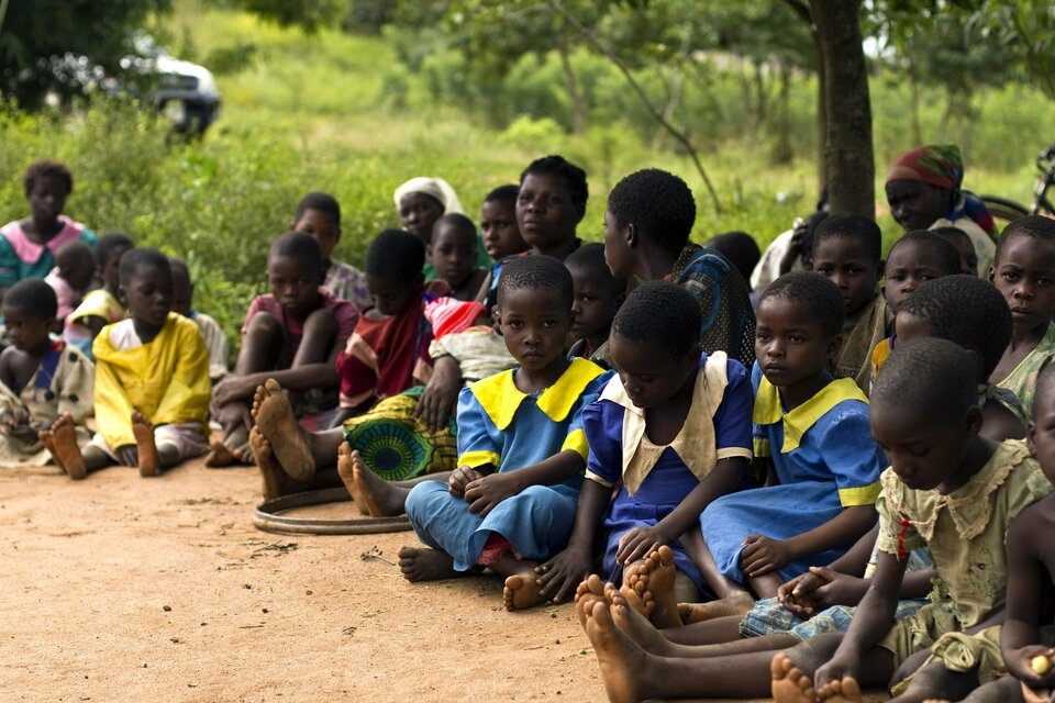 Na zdjęciu ciemnoskóre dzieci siedzą pod drzewem.