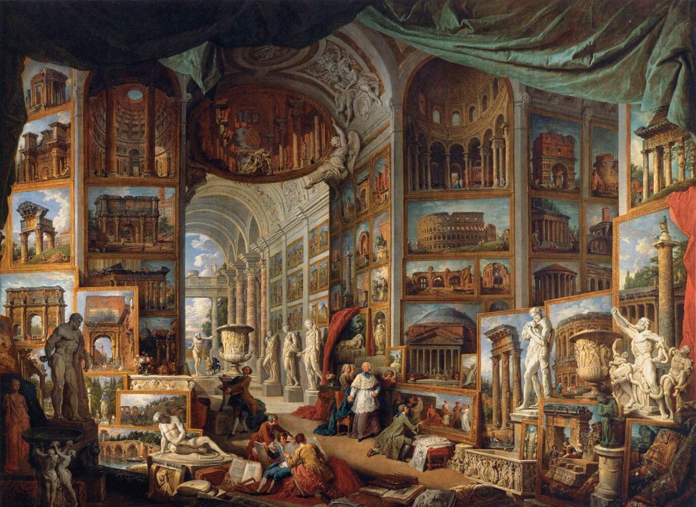 Galeria widoków starożytnego Rzymu Źródło: Giovanni Panini, Galeria widoków starożytnego Rzymu, 1754–1757, olej na płótnie, Luwr, domena publiczna.