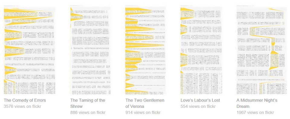 ilustracja dotycząca wizualizacji fleksyjnej analizy dzieł Szekspira wykonana wProcessing przez Stephana Thiela zuniwersytetu wAdelajdzie