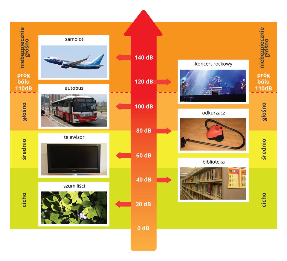 Ilustracja pokazuje przykłady miejsc otypowej dla nich głośności dźwięku. Szum liści – 20 dB (cicho), biblioteka – 40 dB (cicho), telewizor – 60 dB (średnio), odkurzacz – 80 dB (głośno), autobus – 100 dB (głośno), widoczna czerwona przerywana linia – 110 dB (próg bólu) , następnie powyżej, koncert rokowy – 120 dB (niebezpiecznie głośno), samolot – 140 dB (niebezpiecznie głośno)