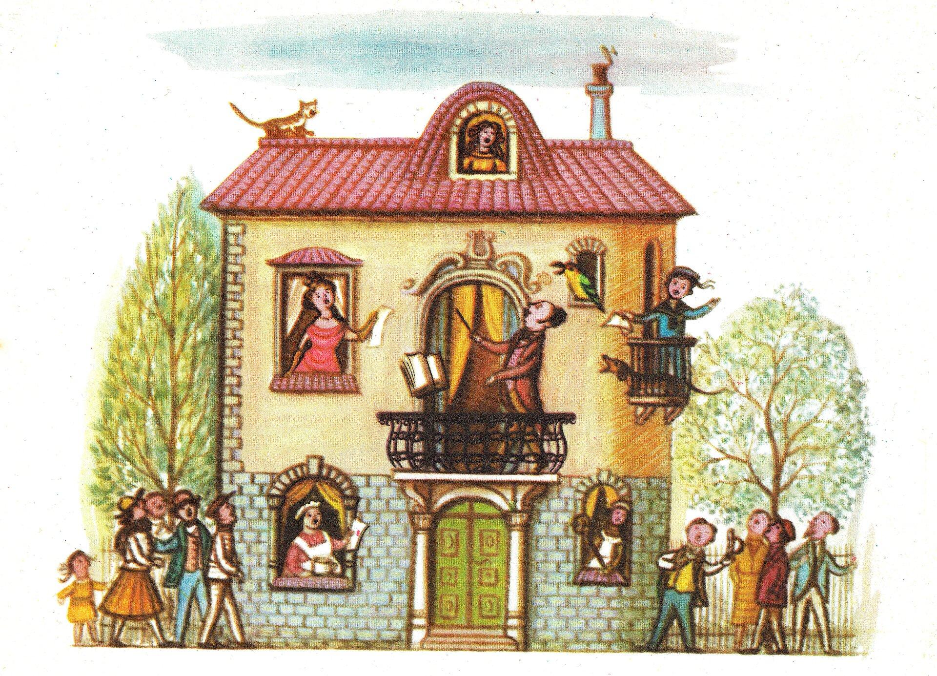 """Ilustracja przedstawia pracę Olgi Siemaszko zksiążki Juliana Tuwima """"Wiersze dla dzieci"""". Ukazuje duży dom, wktórego oknach ina balkonie znajdują się postacie. Wszyscy wykonują piosenkę. Dom jest dekorowany nad oknami, wejście zdobione jest kolumnami. Na czerwonym dachu siedzi kot. Po obu stronach domu przedstawione są osoby które również śpiewają. Przy domu stoi płot, za którym rosną drzewa."""