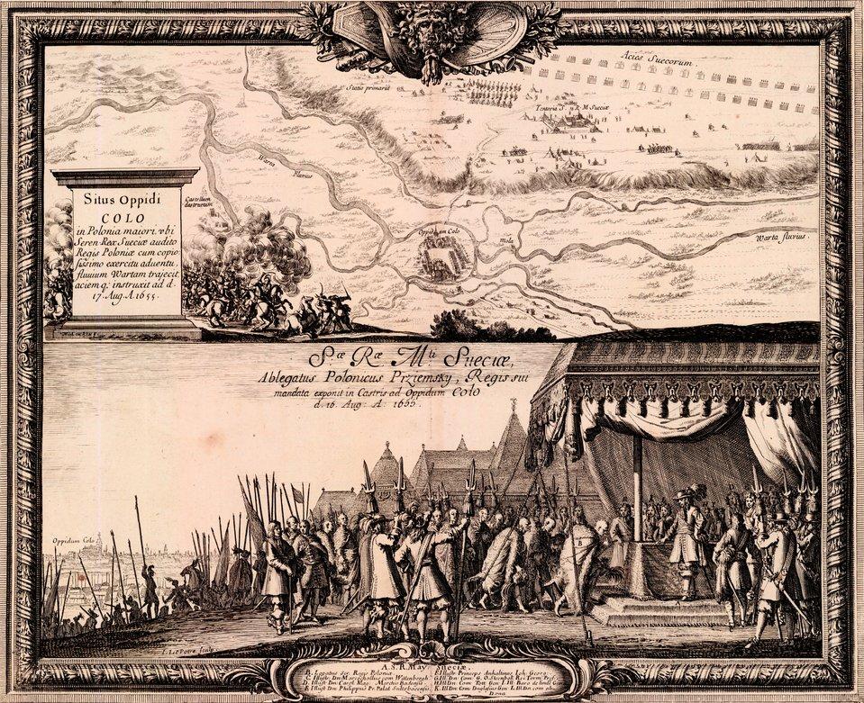 Samuel von Pufendorf, Oczynach Karola Gustawa, króla Szwecji, komentarzy ksiąg siedem, Norymberga 1696 Połączone wKoninie armie Karola XGustawa iWittenberga 25 sierpnia 1655 rokuprzesunęły się do Koła iuchwyciły przeprawę przez Wartę. Dnia następnego odbyło się posłuchanie polskiego posła (obraz dolny), 27 zaś armia szwedzkaprzeprawiła się irozwinęła na prawym brzegu. Źródło: Erik Dahlbergh, Samuel von Pufendorf, Oczynach Karola Gustawa, króla Szwecji, komentarzy ksiąg siedem, Norymberga 1696, 1655, domena publiczna.
