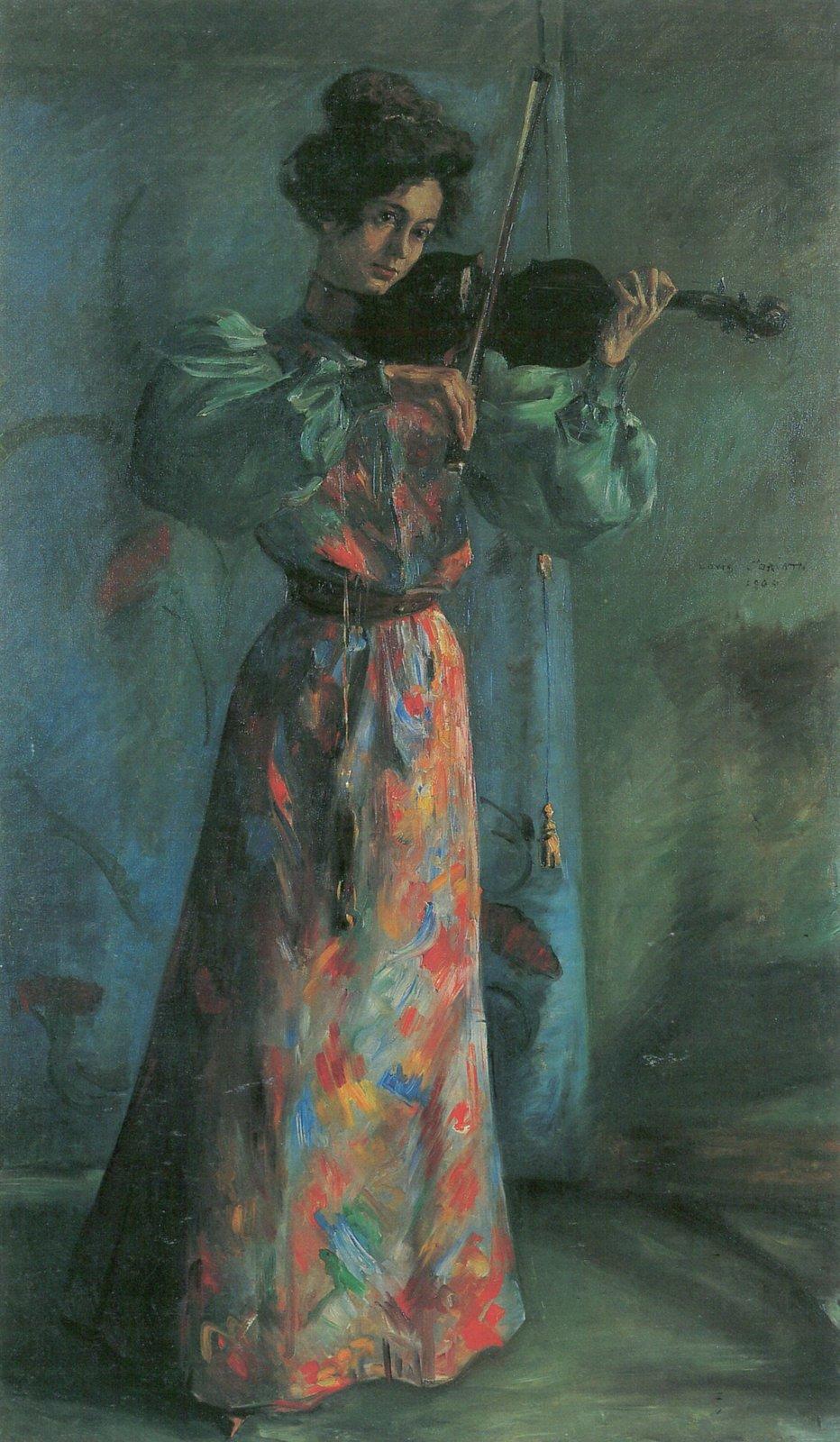 Skrzypaczka Źródło: Lovis Corinth, Skrzypaczka, 1900, olej na płótnie, zbiory prywatne, domena publiczna.