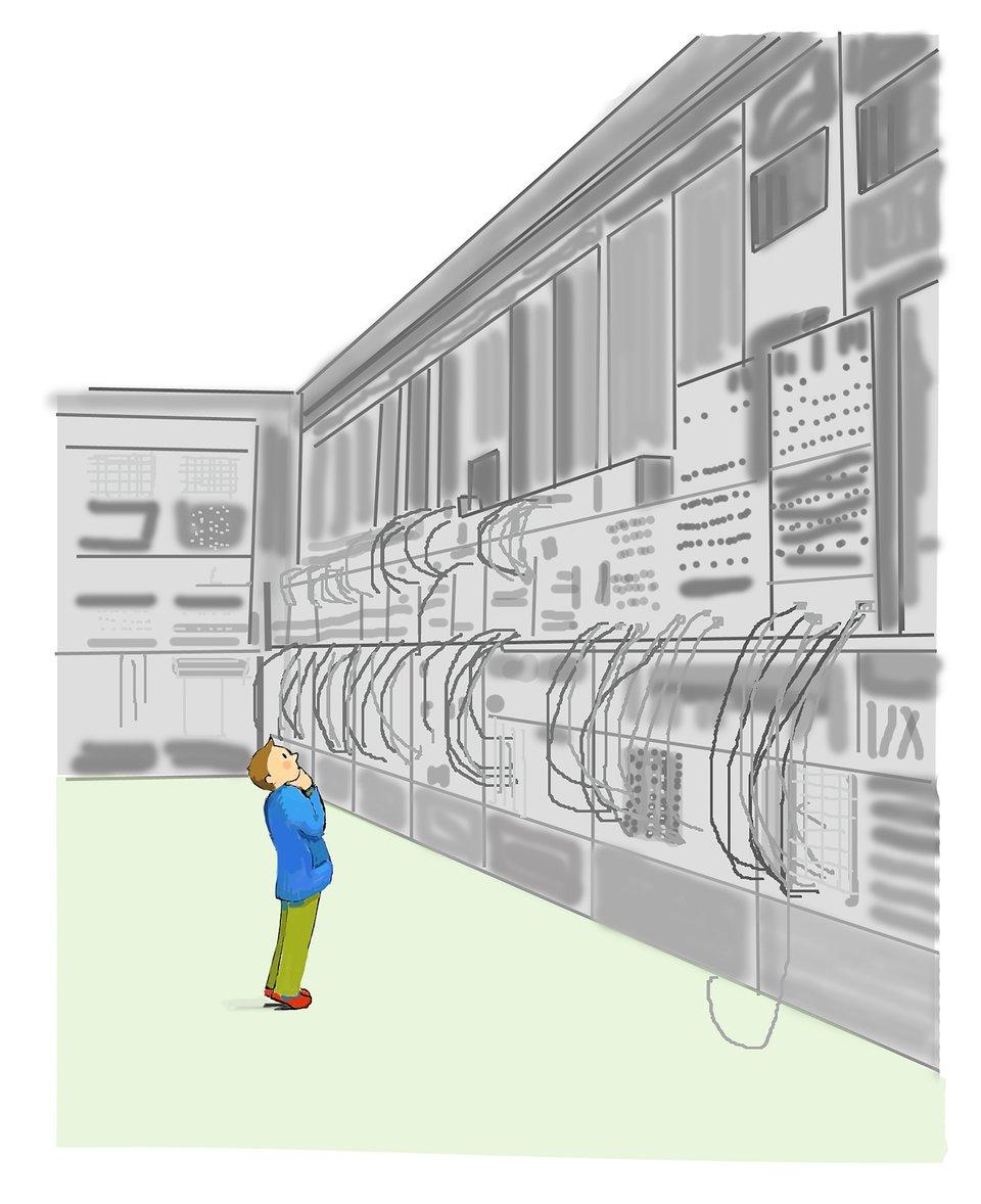 Ilustracja przedstawiająca dziecko stojące przed komputerem Eniac