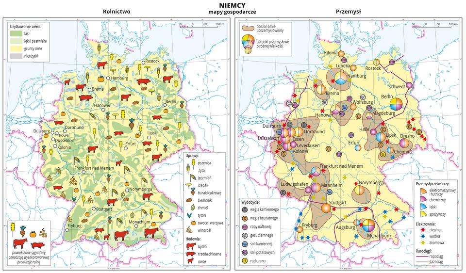 Ilustracja przedstawia dwie mapy gospodarcze Niemiec. Mapa pierwsza – rolnictwo, mapa druga – przemysł. Na mapie rolnictwa przeważa tło wkolorze żółtym (grunty orne), ponadto tło wkolorze jasnozielonym (łąki ipastwiska), zielonym (lasy) iszarym (nieużytki). Na mapie sygnatury obrazujące uprawy (pszenica, żyto, jęczmień, rzepak, buraki cukrowe, ziemniaki, chmiel, tytoń, owoce iwarzywa, winorośl) ihodowlę (bydło, trzoda chlewna, owce). Wkilku miejscach powiększone sygnatury oznaczają wysokotowarową produkcję rolną. Na mapie przemysłu sygnatury kołowe – ośrodki przemysłowe. Duże wMonachium, Hamburgu, kilkanaście średnich sygnatur ikilkanaście mniejszych. Przemysł elektromaszynowy ihutniczy oraz chemiczny wprzewadze, lekki oraz spożywczy. Po kilkanaście elektrowni cieplnych iwodnych oznaczonych kolorowymi gwiazdkami, kilka elektrowni atomowych, ropociągi igazociągi oznaczone liniami. Sygnaturami oznaczające wydobycie węgla kamiennego, węgla brunatnego, ropy naftowej, gazu ziemnego, soli kamiennej, soli potasowych irud uranu występują wśrodkowej części mapy. Dodatkowo brązowymi plamami wyróżniono obszary silnie uprzemysłowione, obejmują one skupiska miast – dużych ośrodków przemysłu. Obie mapy zawierają południki irównoleżniki, dookoła map wbiałych ramkach opisano współrzędne geograficzne co dwa stopnie.