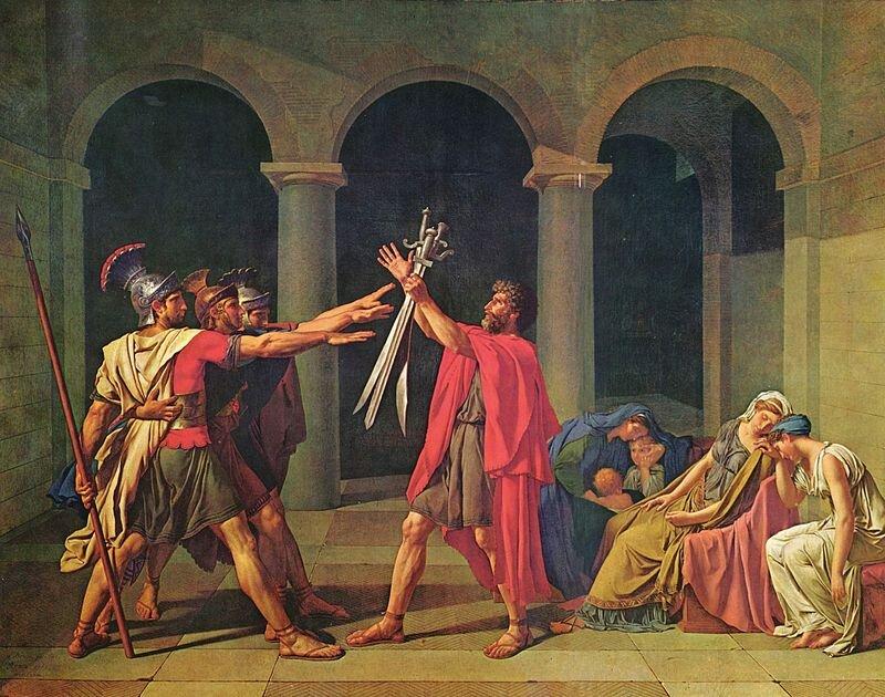 Przysięga Horacjuszy Źródło: Jacques-Louis David, Przysięga Horacjuszy, 1784, olej na płótnie, Luwr, domena publiczna.