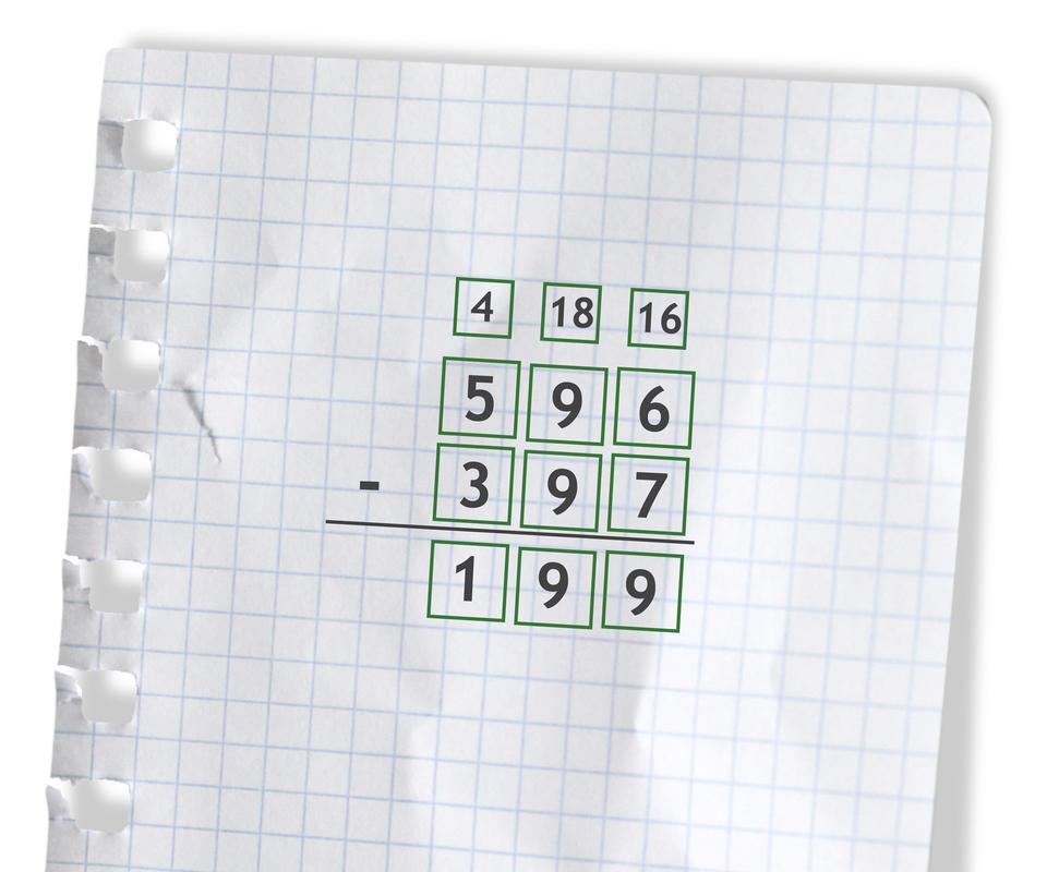 Przykład: 596 - 397 =199. Rozwiązanie zadania podpunkt d.