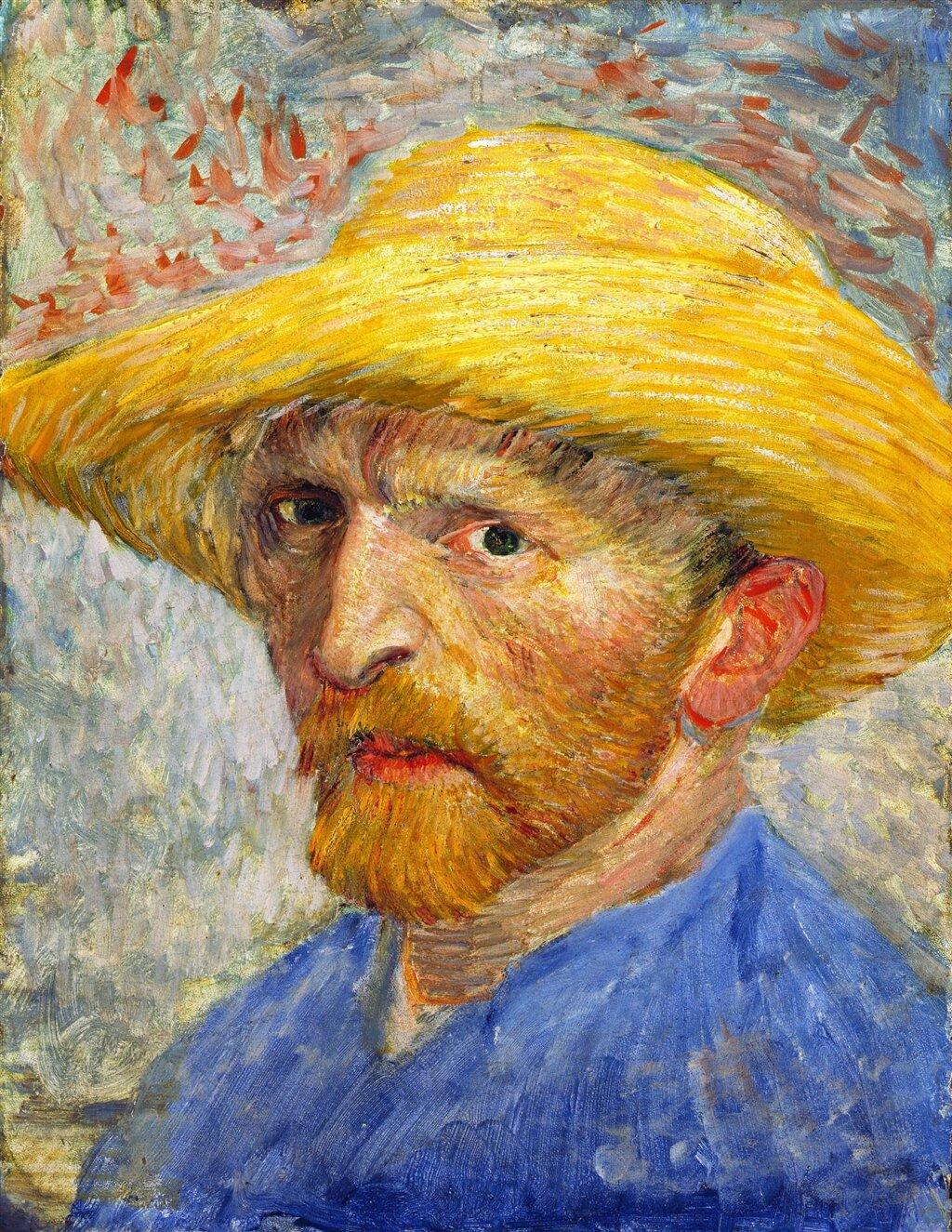 Autoportret wsłomkowym kapeluszu Źródło: Vincent van Gogh, Autoportret wsłomkowym kapeluszu, 1887, Detroit Institute of Arts, domena publiczna.