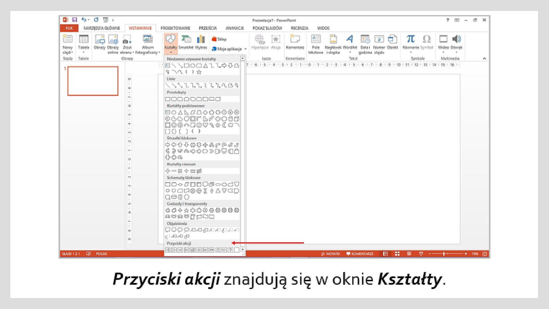 Zrzut okna programu MS PowerPoint zlistą: Kształty