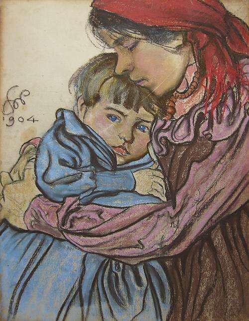 Macierzyństwo Źródło: Stanisław Wyspiański, Macierzyństwo, 1904, pastel na papierze, 62 x47,4 cm, Muzeum Narodowe wWarszawie , domena publiczna.