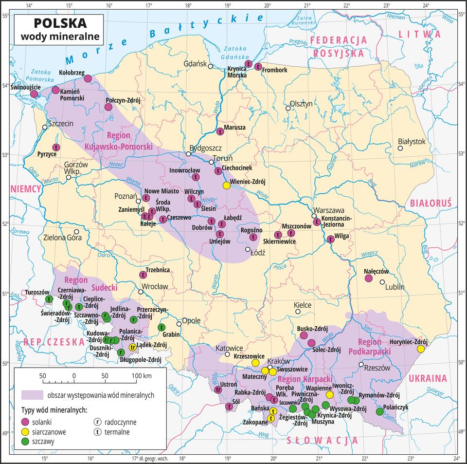 Ilustracja przedstawia mapę Polski. Oznaczono iopisano główne miasta. Granice województw oznaczono czerwonymi liniami. Opisano państwa sąsiadujące. Na mapie kolorem filetowym przedstawiono obszary występowania wód mineralnych, aza pomocą sygnatur – kolorowych kół przedstawiono typy wód: solanki, szczawy iwody siarczanowe. Oznaczeniami literowymi przedstawiono typy wód: r– radoczynne, t– termalne. Opisano nazwy regionów występowania wód mineralnych: Region Kujawsko-Pomorski, Region Sudecki, Region Karpacki, Region Podkarpacki. Innym krojem czcionki opisano również miasta, wktórych występują wody mineralne. Na południu Polski przeważa występowanie szczaw (w Rejonie Sudeckim są to wody radoczynne), awRegionie Kujawsko-Pomorskim występują solanki termalne. Wody siarczanowe występują głównie wokolicach Krakowa. Dookoła mapy wbiałej ramce opisano współrzędne geograficzne co jeden stopień. Wlegendzie na dole mapy objaśniono znaki użyte na mapie.