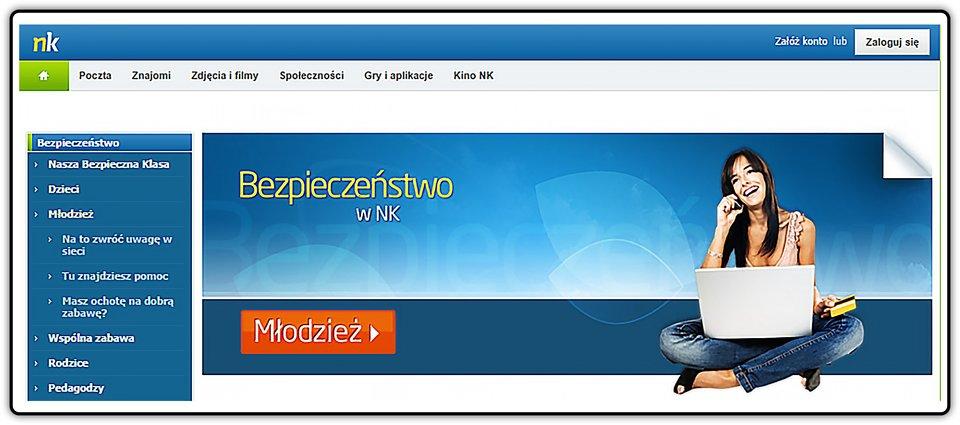 Strona startowa portalu społecznościowego nk