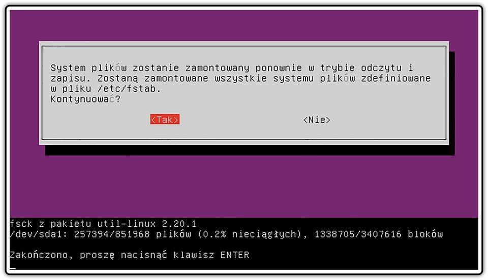 Ilustracja przedstawiająca okno procesu sprawdzania poprawności zapisu wszystkich plików systemu wsystemie Linux Ubuntu