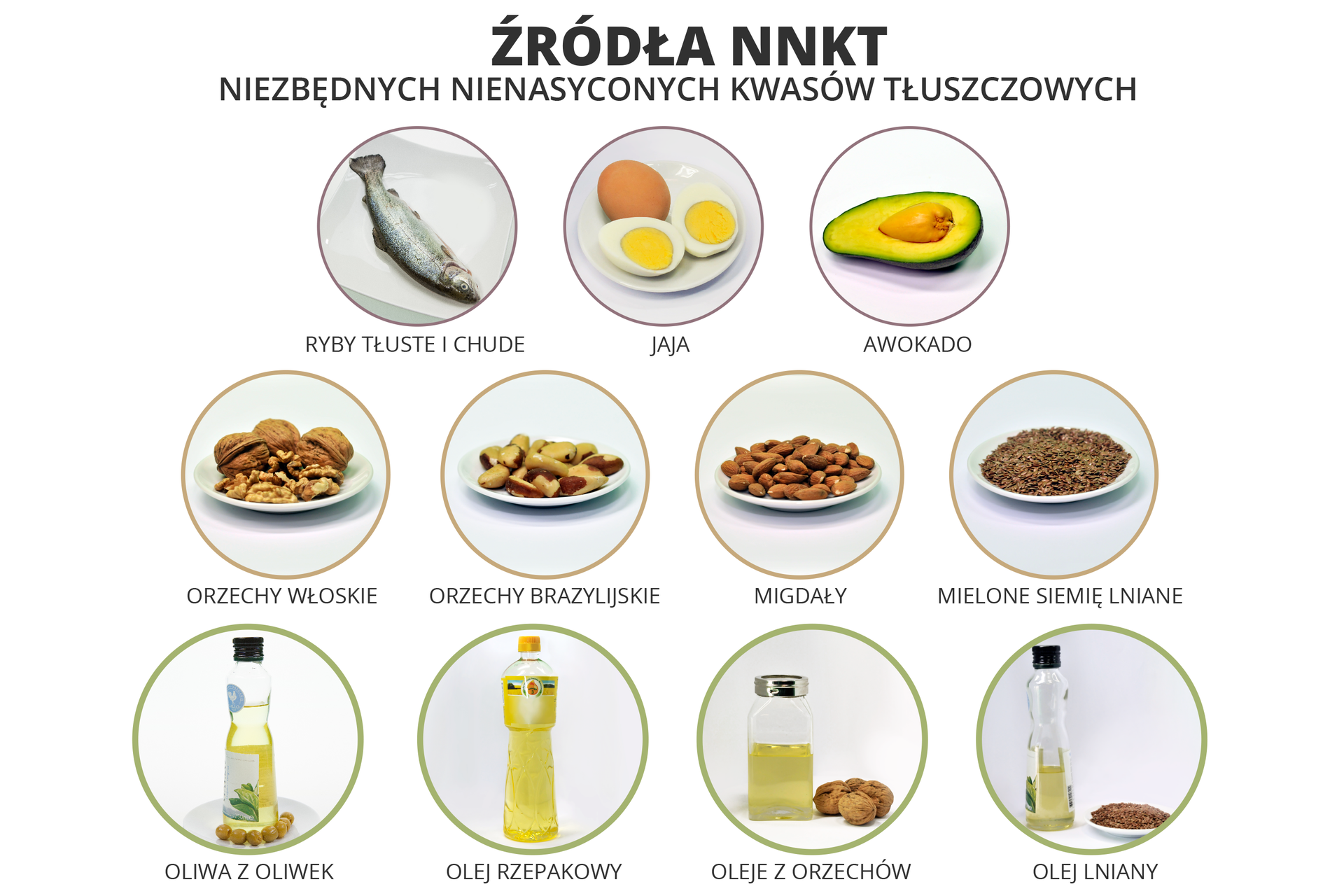 Schemat przedstawiający źródła niezbędnych nienasyconych kwasów tłuszczowych - ryby tłuste ichude, jaja, awokado, orzechy włoskie, orzechy brazylijskie, migdały, mielone siemię lniane, oliwa zoliwek, olej rzepakowy, oleje zorzechów oraz olej lniany.