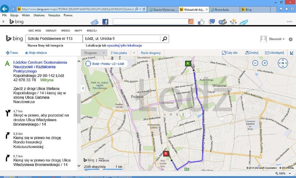 Zrzut fragmentu mapy zzaznaczoną trasą idokładnym jej opisem wwyszukiwarce Bing