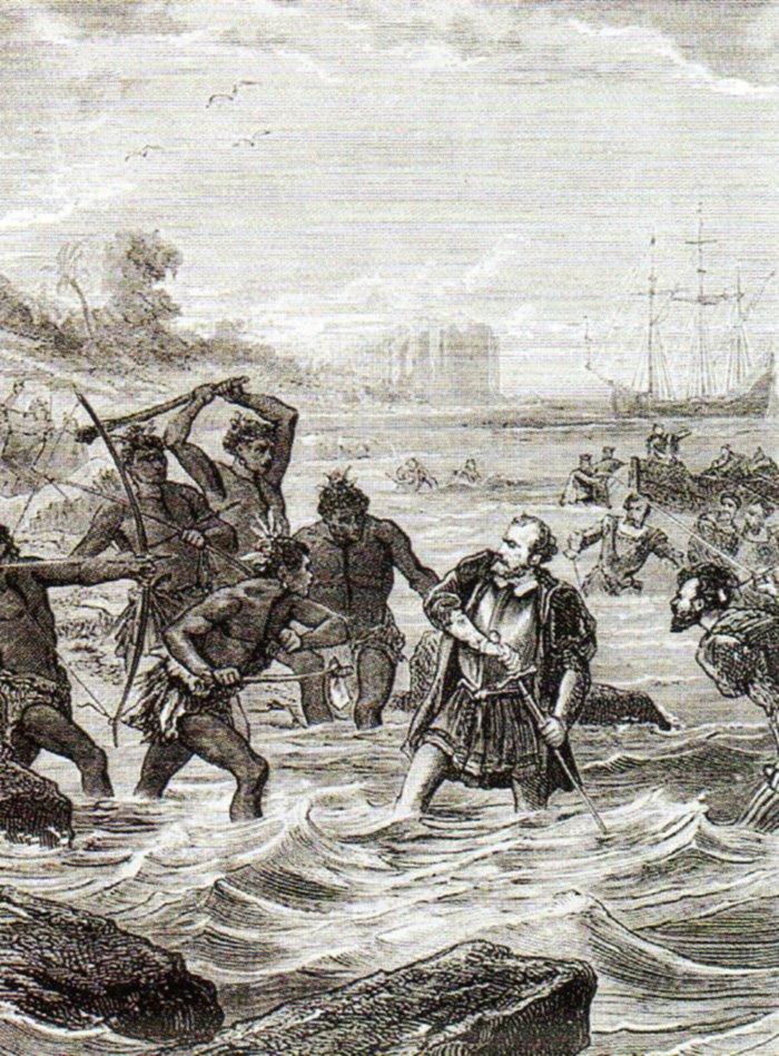 Śmierć Magellana Źródło: Śmierć Magellana, ok. 1860, domena publiczna.