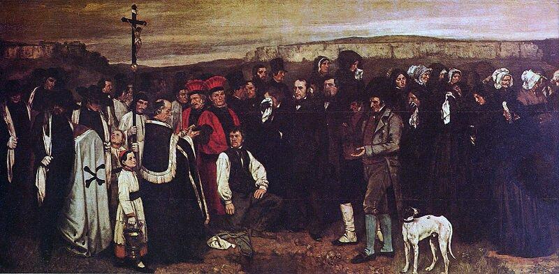 Pogrzeb wOrnans. Gustave Courbet (1819–1877 ; czyt.: gustaw korbe) – francuski malarz, reprezentant realizmu. Źródło: Gustave Courbet, Pogrzeb wOrnans. , 1849–1850, olej na płótnie, Musée d'Orsay, Paryż, domena publiczna.