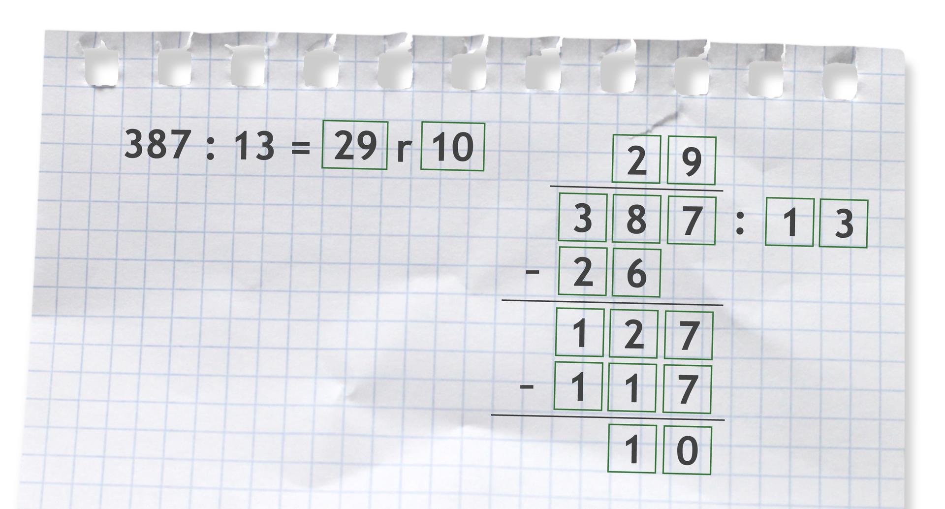 Przykład: 387 dzielone przez 13 =29 r10. Rozwiązanie zadania podpunkt b.