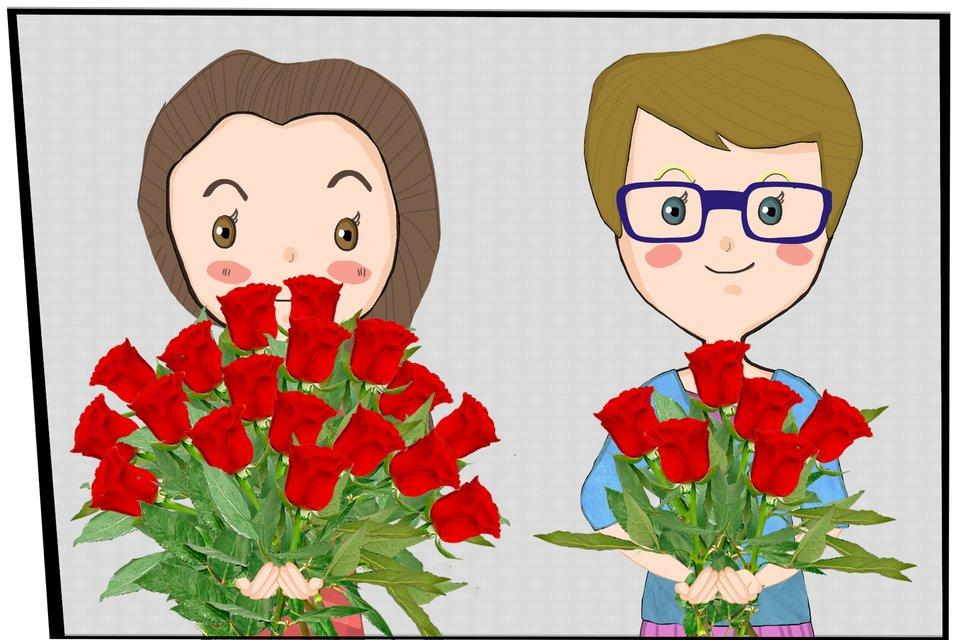 Rysunek dwóch dziewczynek. Każda trzyma wrękach bukiet róż.