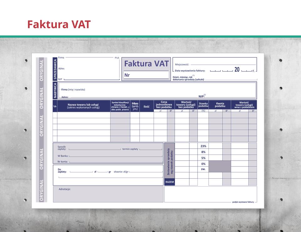 Ilustracja przedstawia fakturę VAT.