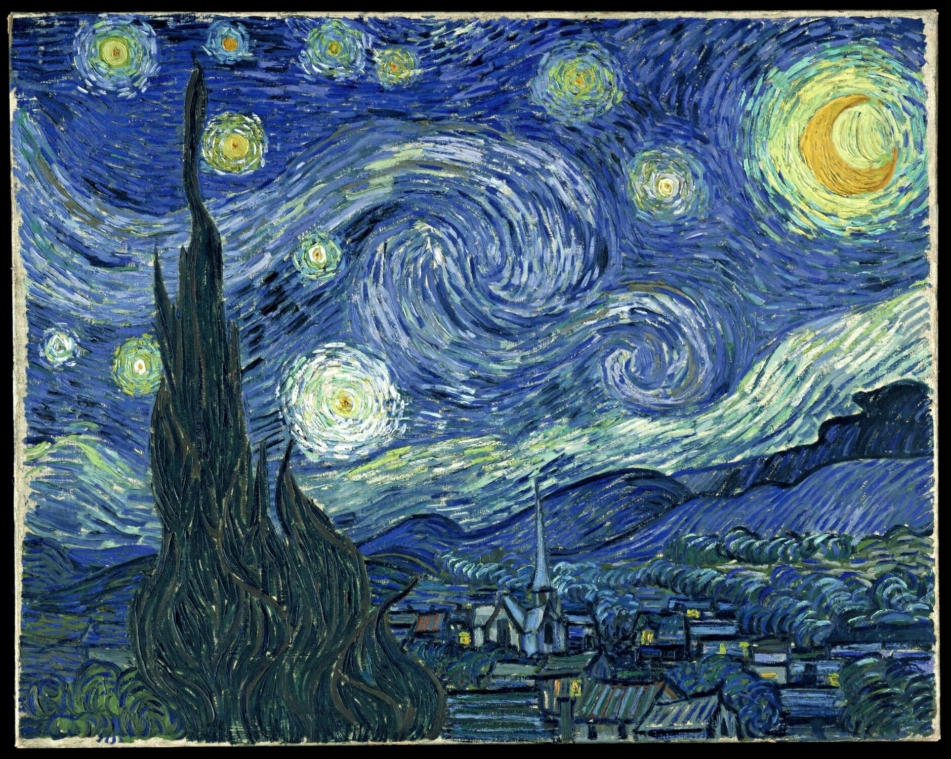 Vincent van Gogh, Gwiaździsta noc, 1889 Źródło: English Wikipedia, Vincent van Gogh, Gwiaździsta noc, 1889, olej na płótnie, Museum of Modern Art, licencja: CC 0.