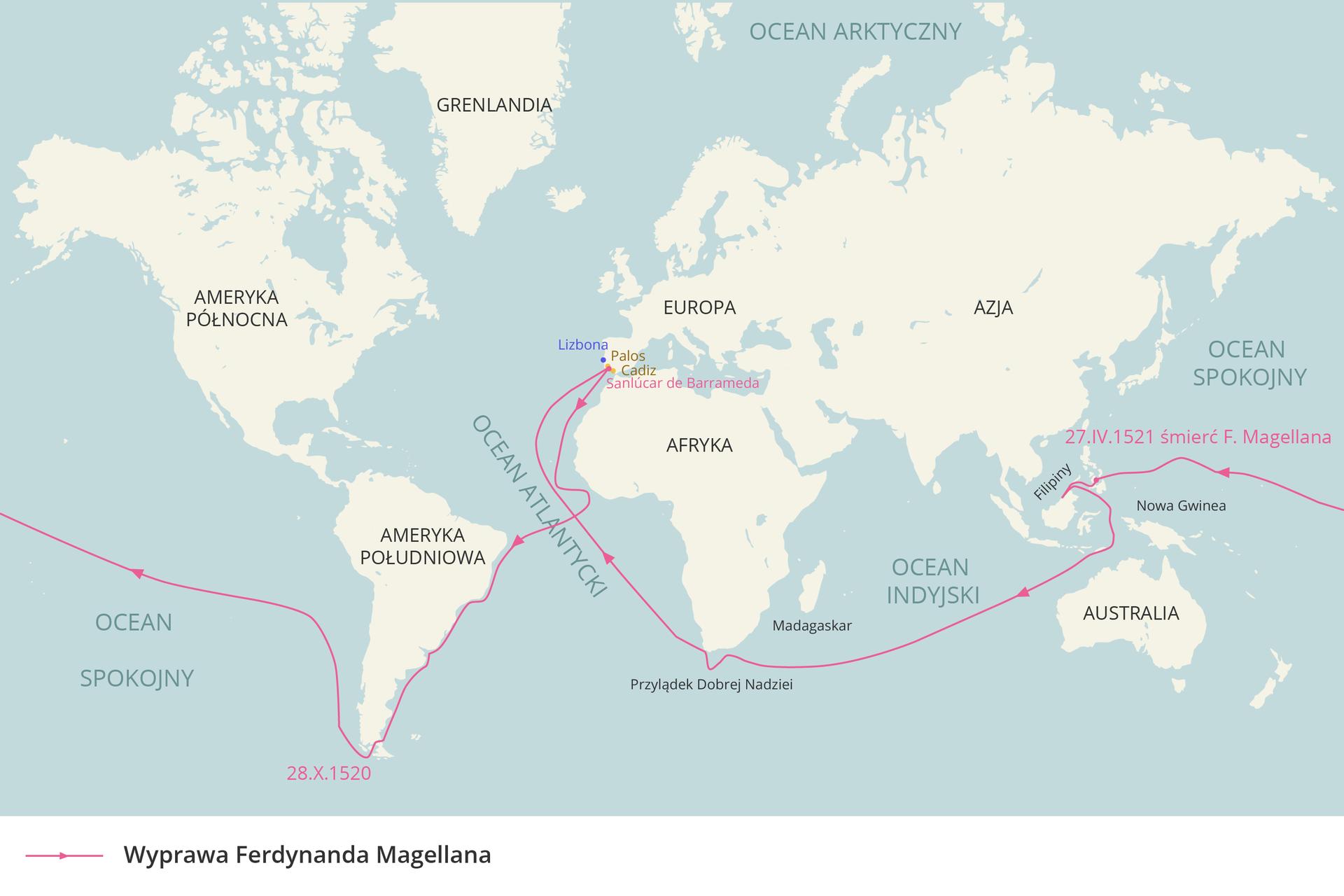 Ilustracja prezentuje mapę świata zzaznaczoną fioletową linią trasą wyprawy Magellana. Kontynenty są narysowane na biało iotoczone niebieskimi wodami. Trasa wyprawy Magellana rozpoczyna się wPortugalii, prowadzi wzdłuż Afryki, następnie wzdłuż wschodnich brzegów Ameryki Południowej, poprzez Ocean Spokojny na Filipiny, następnie Ocean Indyjski, Przylądek Dobrej Nadziei ipowrót poprzez Ocean Atlantycki do Portugalii.