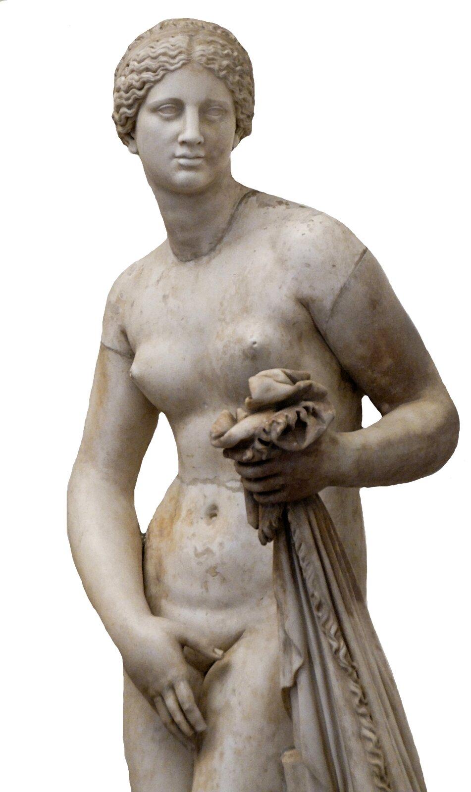 Afrodyta knidyjska Źródło: Praksyteles, Afrodyta knidyjska, ok. 360 p.n.e., marmurowa kopia rzymska, Museo Nazionale Romano (Palazzo Altemps), licencja: CC BY 2.0.