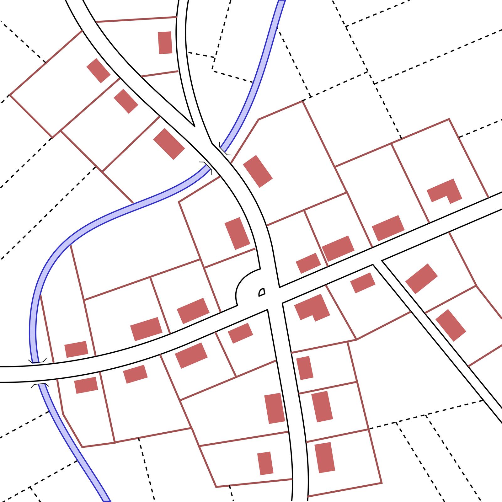 Na ilustracji schemat wsi ozabudowie wzdłuż kilku dróg, zbiegających się wjednym miejscu.