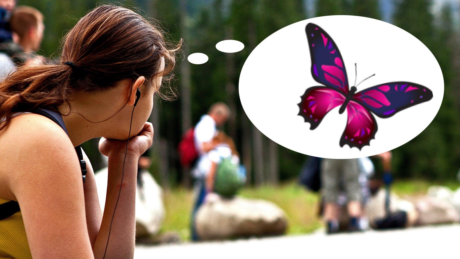 Ilustracja przedstawia zamyśloną dziewczynę. Przy jej głowie znajduje się dymek – jak wkomiksie – wktórym znajduje się rysunek różowego motyla.