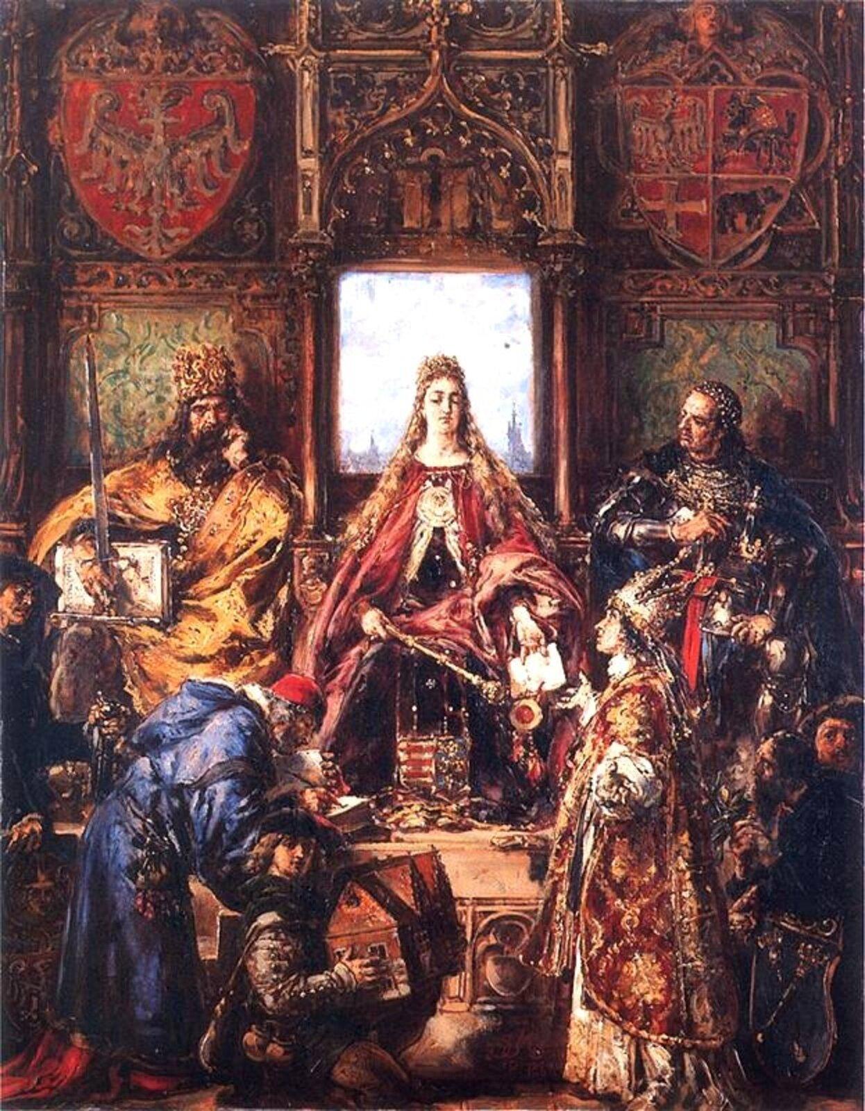 Obraz Jana Matejki przedstawiający Królową Jadwigę.