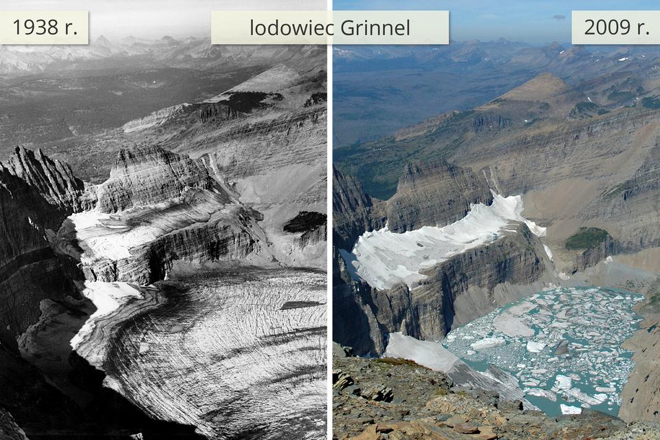 Dwie fotografie obok siebie prezentują wygląd lodowca w1938 roku oraz w2009 roku.Zdjęcie po lewej stronie pokazuje lodowiec pokrywający szczyty górskie oraz podnóże. Zdjęcie obok pokazuje ten sam lodowiec kilkadziesiąt lat później. Lodowiec pokrywa wniewielkim stopniu szczyt górski, aupodnóża góry znajduje się jezioro.