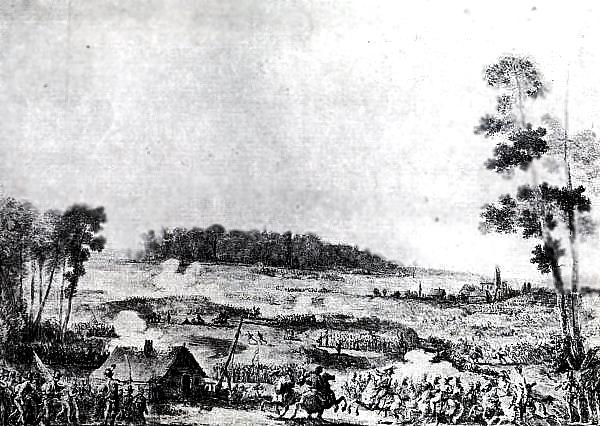 Bitwa pod Zieleńcami 18 czerwca 1792 r. Źródło: Jan Piotr Norblin (właśc. Jean-Pierre Norblin de la Gourdaine), Bitwa pod Zieleńcami 18 czerwca 1792 r., przed 1830 rokiem, domena publiczna.