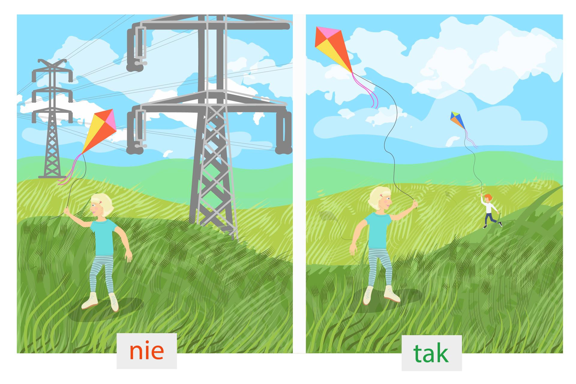 Czwarty rysunek: po lewej stronie dzieci puszczają latawce pod linią wysokiego napięcia. Po prawej stronie dzeci puszczają latawce na polani.