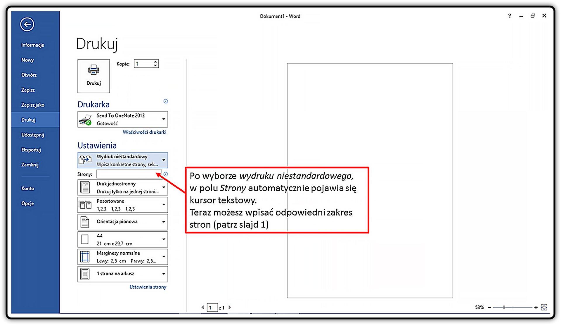 Slajd 4 galerii: Wjaki sposób przygotować wydruk dokumentu wprogramie MS Word